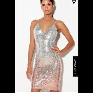 Stunner Rose Gold and Silver Ombre Sequin Dress